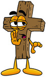 Clip Art Graphic of a Wooden Cross Cartoon Character Whispering and Gossiping