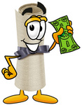 Clip Art Graphic of a Rolled Diploma Certificate Cartoon Character Holding a Dollar Bill