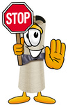 Clip Art Graphic of a Rolled Diploma Certificate Cartoon Character Holding a Stop Sign