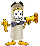 Clip Art Graphic of a Rolled Diploma Certificate Cartoon Character Holding a Megaphone
