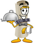 Clip Art Graphic of a Rolled Diploma Certificate Cartoon Character Dressed as a Waiter and Holding a Serving Platter
