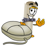 Clip Art Graphic of a Rolled Diploma Certificate Cartoon Character With a Computer Mouse
