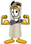 Clip Art Graphic of a Rolled Diploma Certificate Cartoon Character Flexing His Arm Muscles