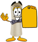 Clip Art Graphic of a Rolled Diploma Certificate Cartoon Character Holding a Yellow Sales Price Tag