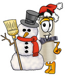 Clip Art Graphic of a Rolled Diploma Certificate Cartoon Character With a Snowman on Christmas