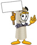 Clip Art Graphic of a Rolled Diploma Certificate Cartoon Character Holding a Blank Sign