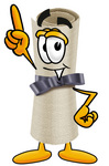 Clip Art Graphic of a Rolled Diploma Certificate Cartoon Character Pointing Upwards