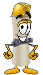 Clip Art Graphic of a Rolled Diploma Certificate Cartoon Character Wearing a Hardhat Helmet