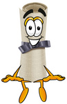 Clip Art Graphic of a Rolled Diploma Certificate Cartoon Character Sitting