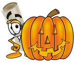 Clip Art Graphic of a Rolled Diploma Certificate Cartoon Character With a Carved Halloween Pumpkin