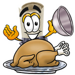Clip Art Graphic of a Rolled Diploma Certificate Cartoon Character Serving a Thanksgiving Turkey on a Platter