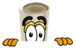 Clip Art Graphic of a Rolled Diploma Certificate Cartoon Character Peeking Over a Surface