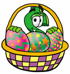 Clip Art Graphic of a Green USD Dollar Sign Cartoon Character in an Easter Basket Full of Decorated Easter Eggs
