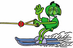 Clip Art Graphic of a Green USD Dollar Sign Cartoon Character Waving While Water Skiing
