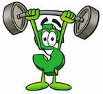 Clip Art Graphic of a Green USD Dollar Sign Cartoon Character Holding a Heavy Barbell Above His Head