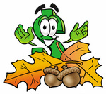 Clip Art Graphic of a Green USD Dollar Sign Cartoon Character With Autumn Leaves and Acorns in the Fall