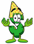 Clip Art Graphic of a Green USD Dollar Sign Cartoon Character Wearing a Birthday Party Hat