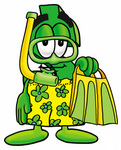 Clip Art Graphic of a Green USD Dollar Sign Cartoon Character in Green and Yellow Snorkel Gear