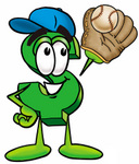 Clip Art Graphic of a Green USD Dollar Sign Cartoon Character Catching a Baseball With a Glove