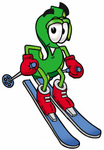 Clip Art Graphic of a Green USD Dollar Sign Cartoon Character Skiing Downhill
