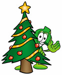 Clip Art Graphic of a Green USD Dollar Sign Cartoon Character Waving and Standing by a Decorated Christmas Tree