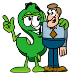Clip Art Graphic of a Green USD Dollar Sign Cartoon Character Talking to a Business Man