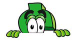 Clip Art Graphic of a Green USD Dollar Sign Cartoon Character Peeking Over a Surface