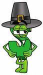 Clip Art Graphic of a Green USD Dollar Sign Cartoon Character Wearing a Pilgrim Hat on Thanksgiving