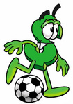 Clip Art Graphic of a Green USD Dollar Sign Cartoon Character Kicking a Soccer Ball