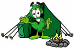 Clip Art Graphic of a Green USD Dollar Sign Cartoon Character Camping With a Tent and Fire