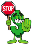 Clip Art Graphic of a Green USD Dollar Sign Cartoon Character Holding a Stop Sign