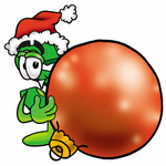 Clip Art Graphic of a Green USD Dollar Sign Cartoon Character Wearing a Santa Hat, Standing With a Christmas Bauble