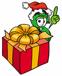 Clip Art Graphic of a Green USD Dollar Sign Cartoon Character Standing by a Christmas Present