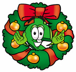 Clip Art Graphic of a Green USD Dollar Sign Cartoon Character in the Center of a Christmas Wreath