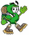 Clip Art Graphic of a Green USD Dollar Sign Cartoon Character Hiking and Carrying a Backpack
