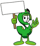 Clip Art Graphic of a Green USD Dollar Sign Cartoon Character Holding a Blank Sign
