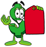 Clip Art Graphic of a Green USD Dollar Sign Cartoon Character Holding a Red Sales Price Tag