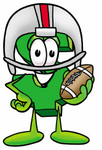 Clip Art Graphic of a Green USD Dollar Sign Cartoon Character in a Helmet, Holding a Football