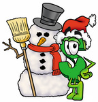 Clip Art Graphic of a Green USD Dollar Sign Cartoon Character With a Snowman on Christmas