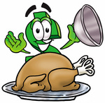 Clip Art Graphic of a Green USD Dollar Sign Cartoon Character Serving a Thanksgiving Turkey on a Platter
