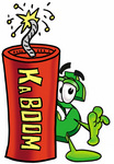 Clip Art Graphic of a Green USD Dollar Sign Cartoon Character Standing With a Lit Stick of Dynamite