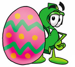 Clip Art Graphic of a Green USD Dollar Sign Cartoon Character Standing Beside an Easter Egg