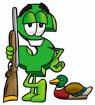 Clip Art Graphic of a Green USD Dollar Sign Cartoon Character Duck Hunting, Standing With a Rifle and Duck