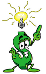 Clip Art Graphic of a Green USD Dollar Sign Cartoon Character With a Bright Idea