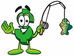 Clip Art Graphic of a Green USD Dollar Sign Cartoon Character Holding a Fish on a Fishing Pole