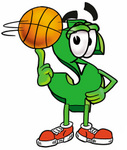 Clip Art Graphic of a Green USD Dollar Sign Cartoon Character Spinning a Basketball on His Finger
