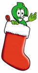 Clip Art Graphic of a Green USD Dollar Sign Cartoon Character Inside a Red Christmas Stocking