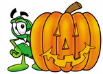 Clip Art Graphic of a Green USD Dollar Sign Cartoon Character With a Carved Halloween Pumpkin