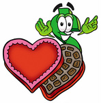 Clip Art Graphic of a Green USD Dollar Sign Cartoon Character With an Open Box of Valentines Day Chocolate Candies