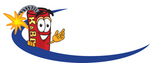 Clip Art Graphic of a Stick of Red Dynamite Cartoon Character Logo With a Blue Dash